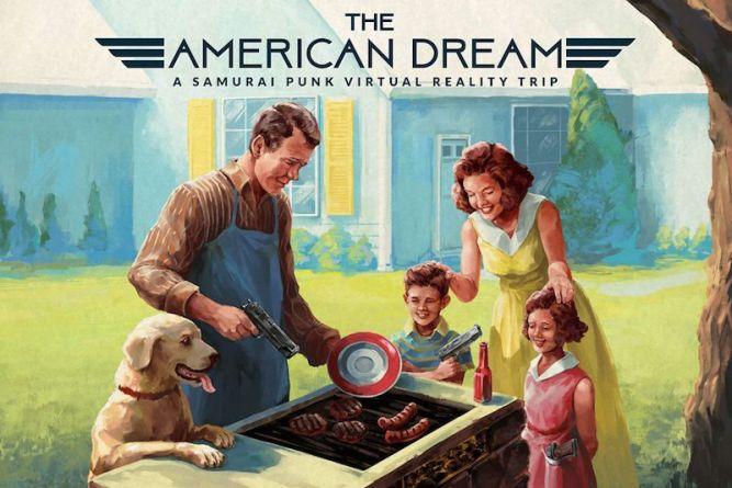 Szczęśliwa amerykańska rodzina przyrządza pyszny obiad