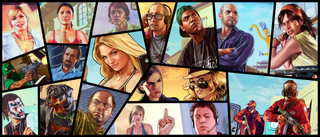 gta_v_art__meet_your_friends__families_and_enemies_by_kevinjrattman-d6oghce