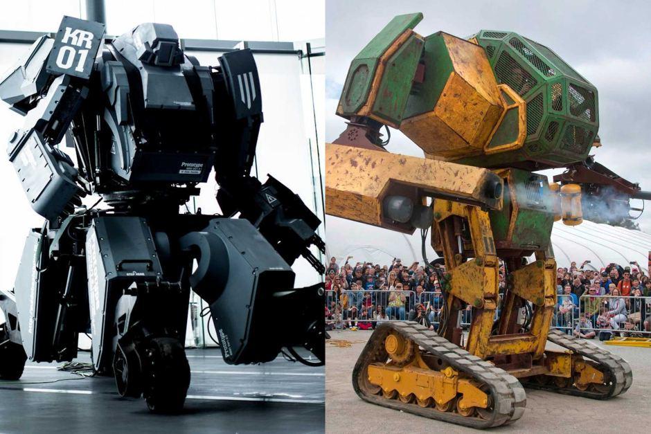 Po lewej maszyna Japończyków, po prawej amerykański MegaBot Mk II