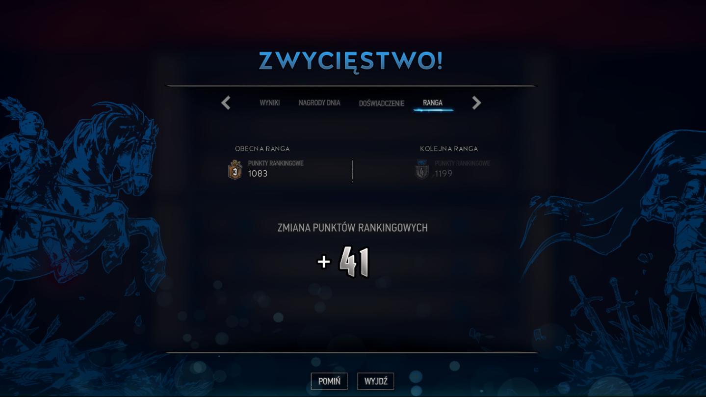Możliwość rozegrania gry rankingowej otrzymamy, gdy osiągniemy 10 poziom